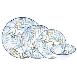 Bambum 24 Parça Fondo Porselen Yemek Takımı Mavi-Yeşil