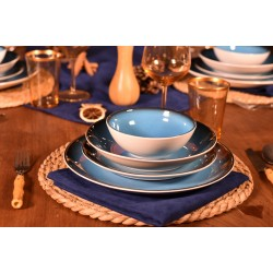 Bambum 24 Parça Mare Porselen Yemek Takımı Mavi