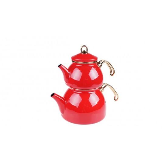 Taşev Şehzade Emaye Çaydanlık Takımı Kırmızı