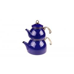 Taşev Şehzade Emaye Çaydanlık Takımı Lacivert
