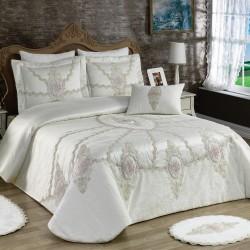 Golden Home Çift Kişilik Sunny İpek Saten Yatak Örtüsü Krem