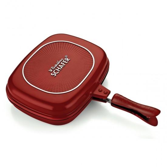 Schafer Kare Double Grill Pan 32 Cm Kırmızı